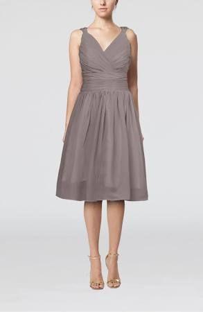 Ridge Grey Homecoming Dress Simple V-neck Sleeveless Chiffon Knee