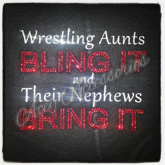 """Should say """" this wrestling mom blings it. My son brings it."""