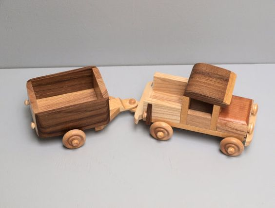 Eco Friendly Wooden Toy Truck with Trailer for by Aroswoodcrafts
