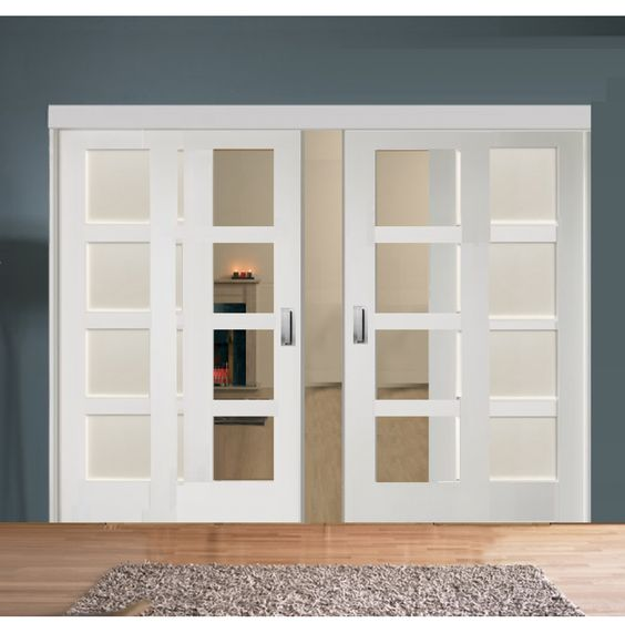 Sliding Room Divider With White Shaker Glazed Solid Doors Ideas For The Reno Pinterest