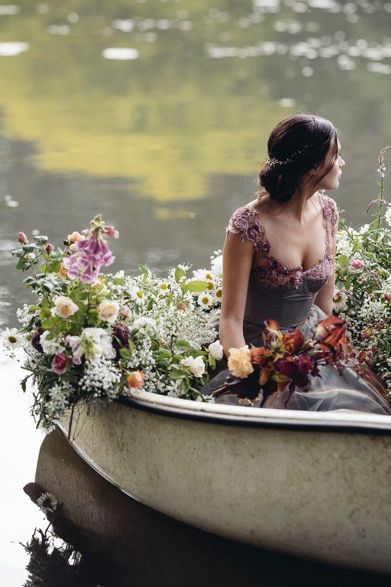 Misty blue grey floral romantic wedding dress by Joanne Fleming Design