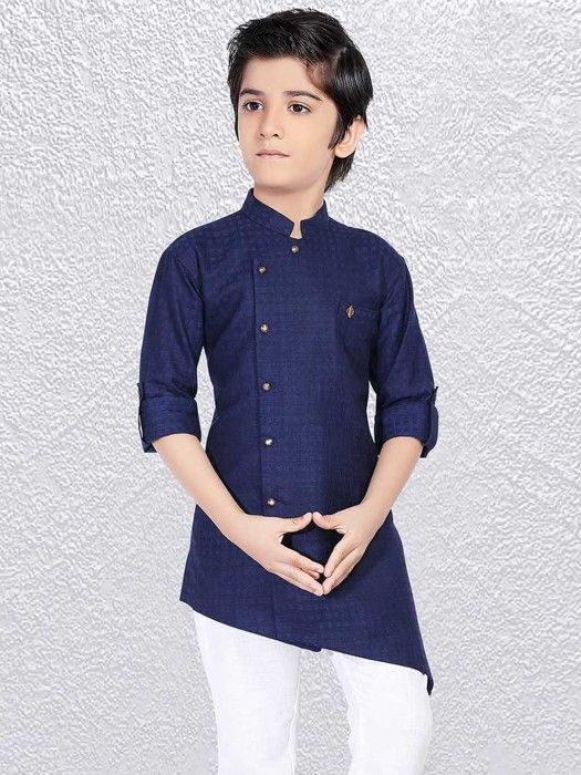 Simple Navy Party Short Kurta Designer Pathani Suit For Boys