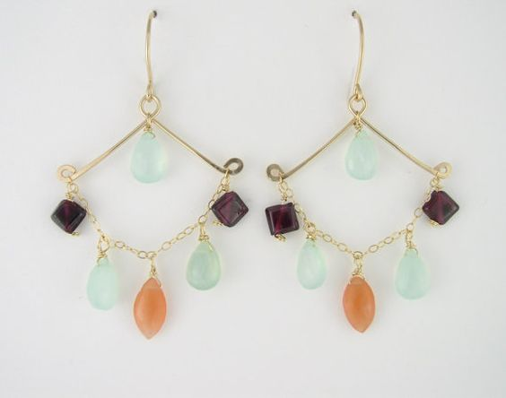 Handmade gold-filled earrings with red by QianFangArtJewelry