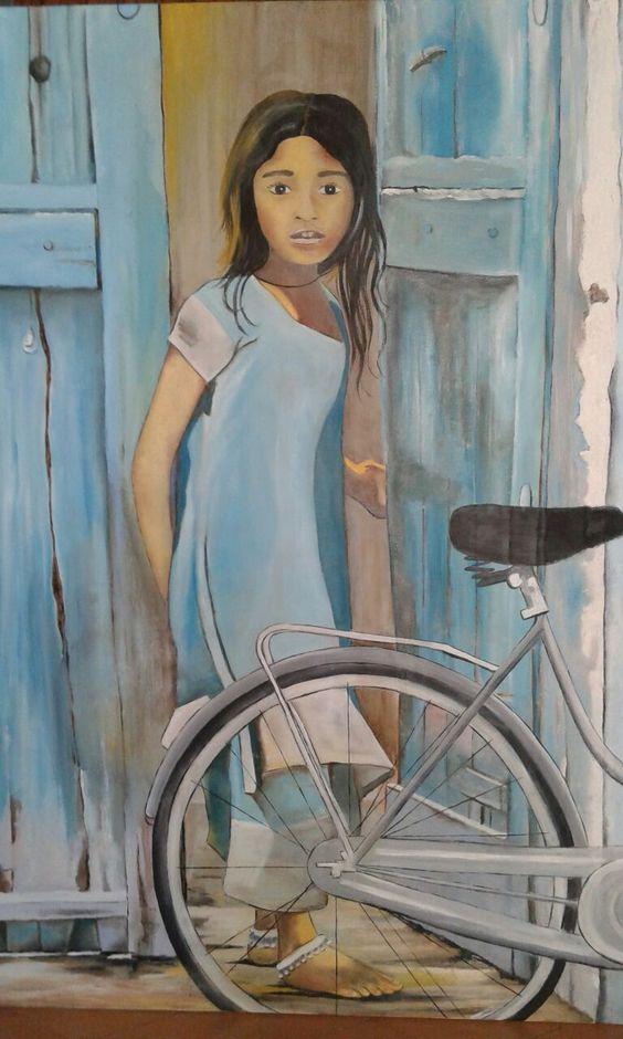 Niña mirando - Oleo sobre tela #sandraromani #artonbcn #artecontemporaneo #artebenarcelona #pintura