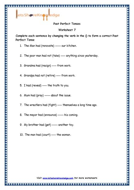 Grade 4 English Resources Printable Worksheets Topic Past Perfect Tenses Lets Share Knowledge Past Perfect Tense Printable Worksheets Perfect Tense Noun worksheets 4th grade