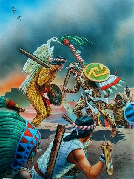 """Confrontation between Aztecs and Tlaxcalans"" Peter Dennis"