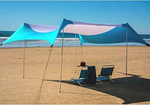 Amazon Com Fofana Cabana Beach Canopy 10x10 Foot Beach Shade Beach Tent With Sandbag Anchor Extra Large Family Size Beach Canopy Beach Shade Beach Tent