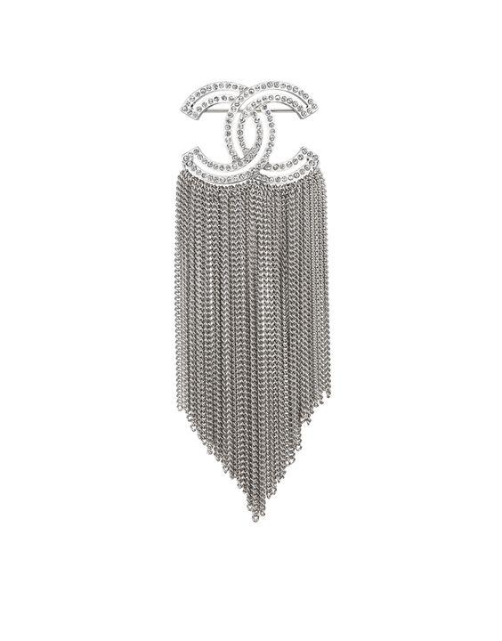Brosche, Metall & strass-silber & kristall - CHANEL 690