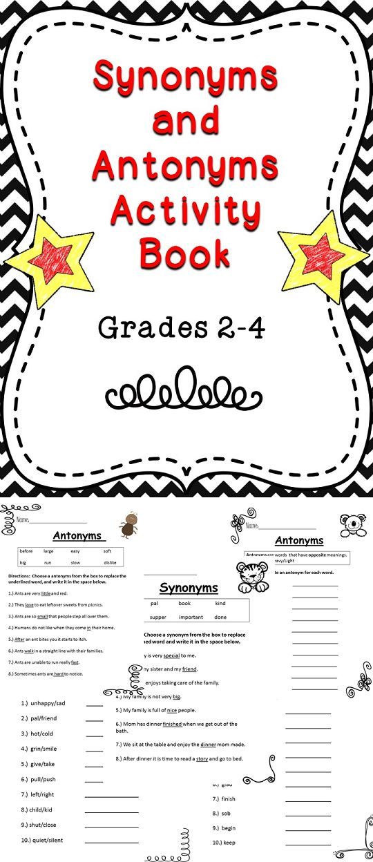 Synonyms and Antonyms Activity Book | Activities, Activity ...
