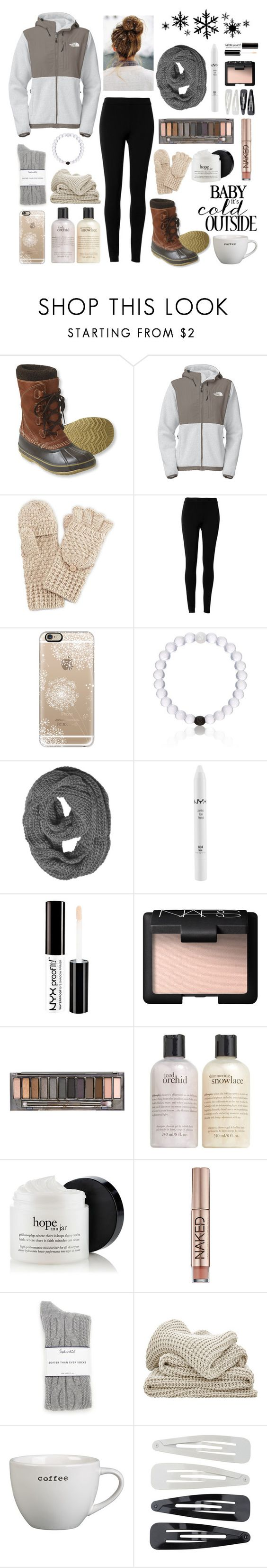 """✧;; let it snow, let it snow, let it snow (read d)"" by kickitap ❤ liked on Polyvore featuring L.L.Bean, The North Face, Max Studio, Casetify, Everest, NYX, NARS Cosmetics, Urban Decay, philosophy and Splendid"