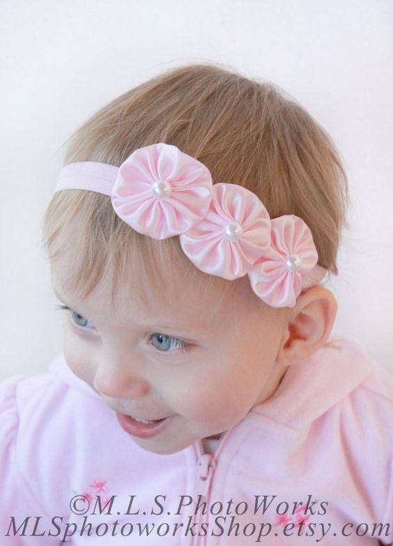 Precious Pink Satin Headband - Soft Light Pink Infant Headband -  Triple Pearl Centered Yo-Yo Flower Hair Bow - Baby Girl Photo Accessory