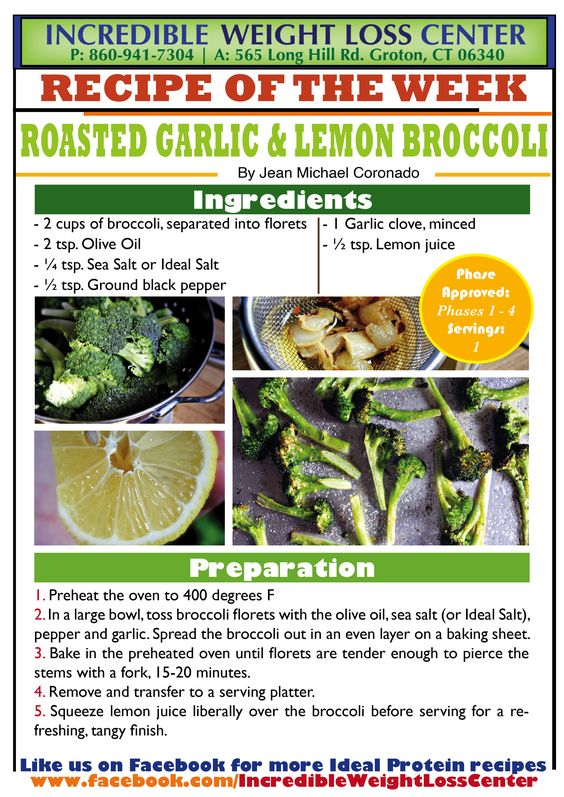 Delicious Roasted Garlic Lemon Broccoli | Ideal Protein ...