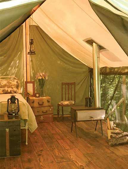 one summer i camped on Paulina Creek - across the creek a female botanist setup her white walled tent for the summer-real furniture like this plus a soak tub too - i was envious!