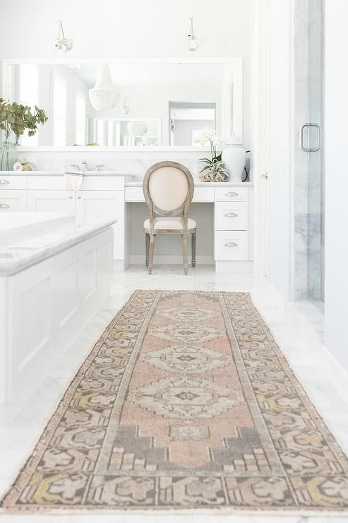 Adding A Pink And Gray Vintage Bath Rug To An All White Bathroom