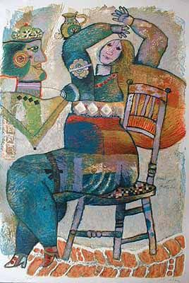 Theo Tobiasse: David et Bethsabee (49x29 lithograph) from Renjeau Galleries, renjeau.com