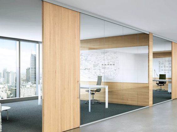 Glass office walls with wood dividers and door in Office partition walls with doors