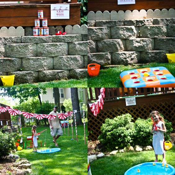 Carnival Circus Birthday Party {Party Games}     Every carnival circus themed game you could imagine is here.  PVC pipes wrapped in crepe paper streamers separated each game of Bullseye, Ring Toss, Can Toss, Hole in One and of course, Duck Fishing.  Not only are there games there are amazing food ideas.  If you are lucky enough you too could have a pony.           We had a BullsEye, Ring Toss, Can Toss, Hole in One,Hula Hoops, Body Boppers (SO MUCH FUN), and Duck Fishing.