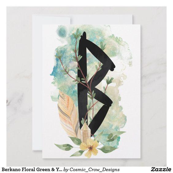 Berkano Floral Green Yellow Norse Futhark Rune Zazzle Com Futhark Runes Norse Runes