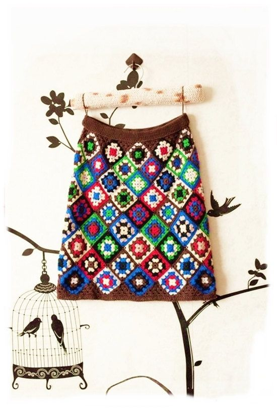 Mini skirt boho crochet granny square ready to ship XS 0 multicolour girl: