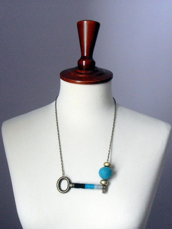 Skeleton Key Fiber Necklace Turquoise black and Grey by Silvia66, $33.00