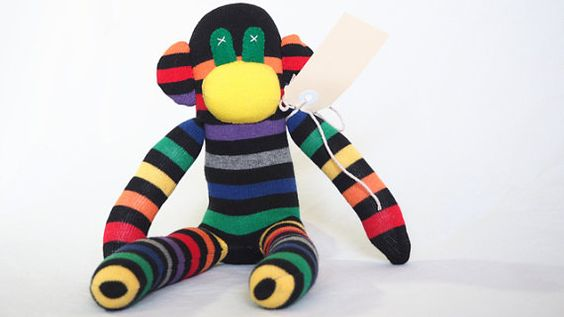 Sock monkey, sock animal, soft plush toy monkey. Mark Monkey. AU $27