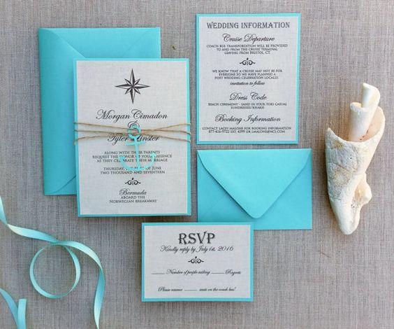 Nautische Hochzeit Einladung Leinen von TheFindSac auf Etsy