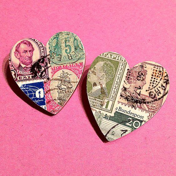 Postage Stamp Heart Brooch
