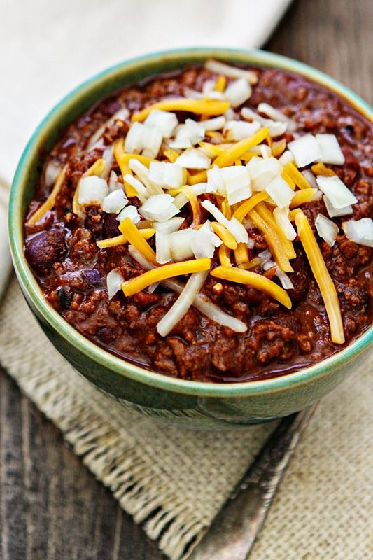 I Know It Is Officially Spring Now And In A Lot Of Places Many Of Us Are Actually Enjoying Spring Weather No Bean Chili Bacon Chili Ground Beef Chili Recipes