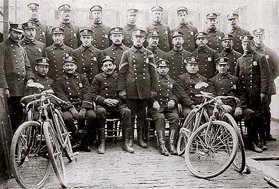 """Created by Police Commissioner Theodore Roosevelt in 1895 to apprehend speeding horse-drawn carriages, the 29-member bike squad, known as the """"Scorcher Squad,"""" made 1,366 arrests in its first year. By the end of 1917, the NYPD had 276 motorcycles, 1,025 bicycles, 327 horses and 86 cars, wagons and trucks"""