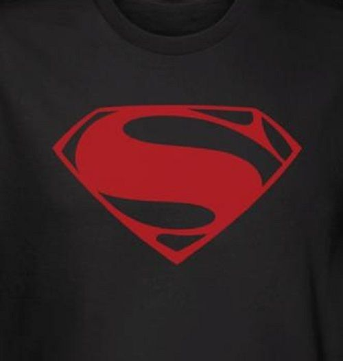 Black Superman Man Of Steel T Shirt With A Red Superman