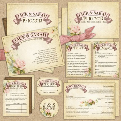 Cheap Shabby Chic Wedding Invitations: Details About Tnco Vintage, Shabby Chic Wedding