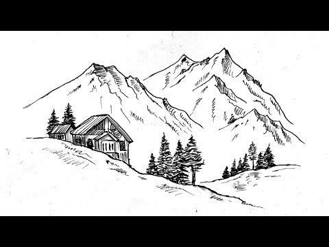 Dag Evi Manzara Cizimi Karakalem Manzara Resmi Nasil Cizilir Cizim Mektebi Youtube 2020 Cizim Manzara Sanat Karalama Defteri