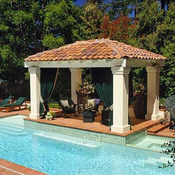 Pools cabanas and pavilion on pinterest for Pool pavilion designs