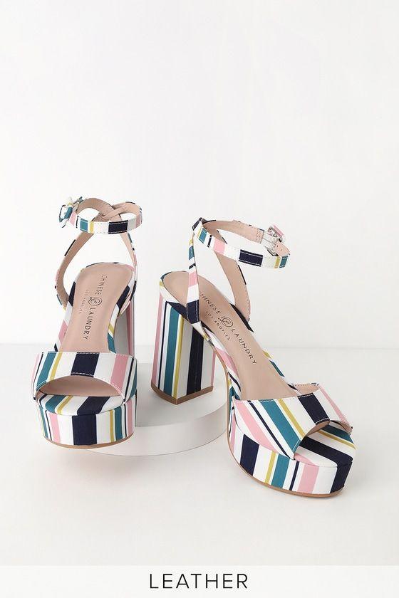 Theresa Pink And Navy Stripe Platform Heels Navy Stripes Heels