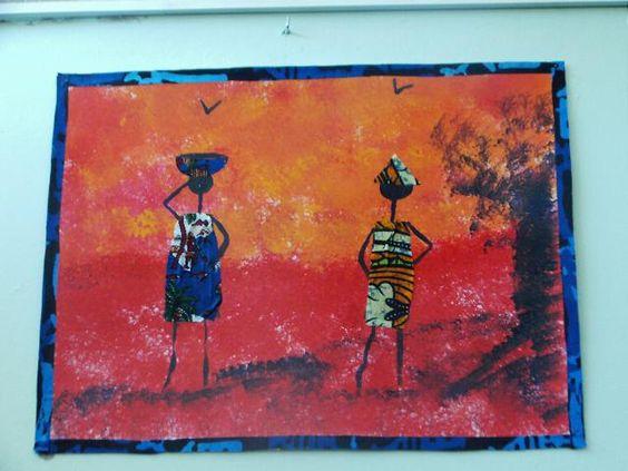 Tableau africain   Fond à l'éponge, tons chauds. Contours des Personnages à la gouache noire, habits réalisés en collage de tissus.