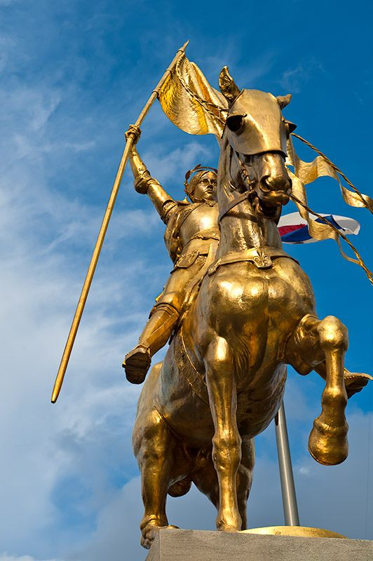 This statue of Joan of Arc, the Maid of Orleans, was a gift from the people of France