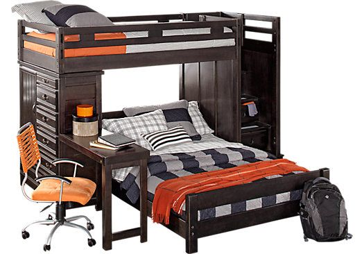 Picture Of Creekside Charcoal Twin Full Step Bunk Bed With Desk And Chest From Full Bedroom S Bunk Bed With Desk Bunk Beds With Stairs Bedroom Furniture Stores