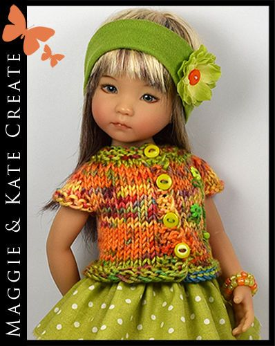 """* Orange & Green * Outfit for Little Darlings Effner 13"""" by Maggie & Kate Create"""