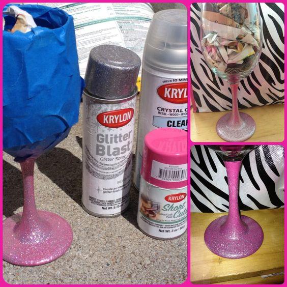 Sprays glitter and glasses on pinterest for Spray painting wine glasses