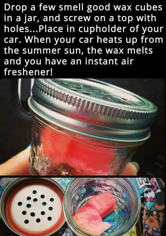 Air freshener for the car - You can use the Walmart Mainstays Wax cubes and only cost $0.93.