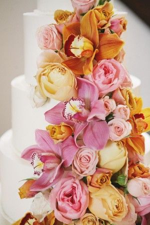 Pink and Orange Rose and Orchid Wedding Cake | photography by www.dianamlottphotography.com | Cake Design by http://www.simonleebakery.com/