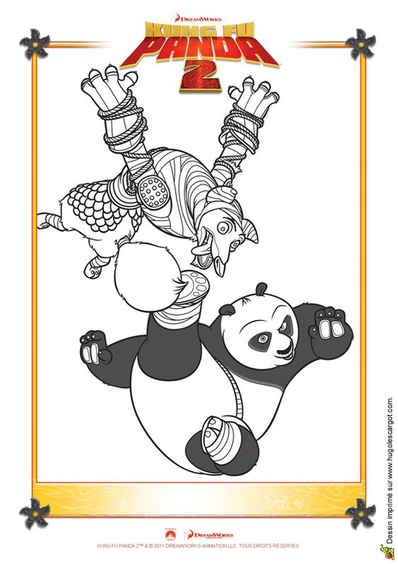 Coloriage de l'affiche du dessin animé Kung-Fu Panda 2.