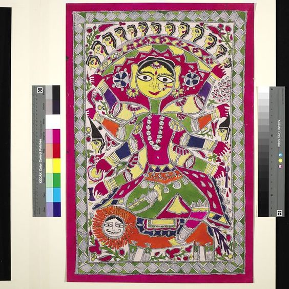 Painting, in ink and paint on paper, the eight-armed goddess Durga depicted on a lion, holding a band of thirteen skulls each drawn in profile with large prominent eyes.  Place of Origin  Bihar, India (Jitwapur Village, Madhubani, made)  Date  ca. 1973 (made)  Artist/maker  Kumari, Lila (maker)  Materials and Techniques  Painted in ink and paint on paper  Dimensions  Height: 75.5 cm, Width: 50.1 cm