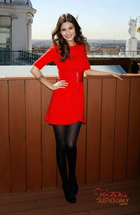 Red dress with black tights | Dresses | Pinterest | Shops, Street ...