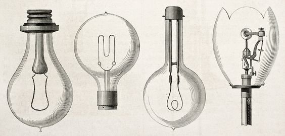 Four light bulbs on display in Paris, 1882. Designs from Edison, Maxim, Swan, and Werdermann.
