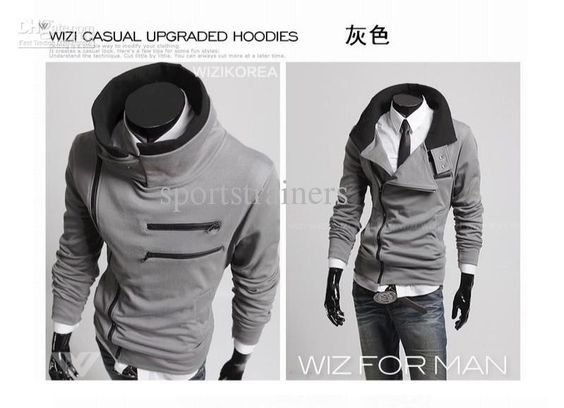 2015 korean style men Mens workout clothes men Double layer collar ...