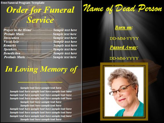 Free Funeral Program Templates    Download Button And Make This