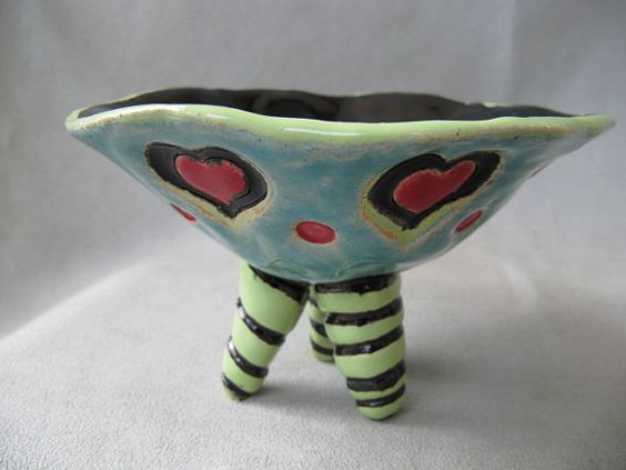 SALE Quirky whimsical folk art handbuilt colorful clay bowl with hearts on Etsy, $5.00