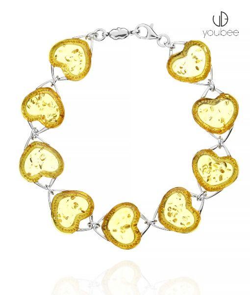 Bransoletka Bursztynowe Serca Srebro925 Na Prezent Jewelry Charm Bracelet Bracelets