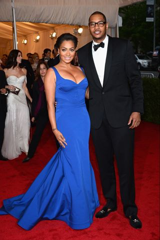 La La Anthony, in custom Zac Posen, with Carmelo Anthony, in Rag & Bone.  Interesting seaming.